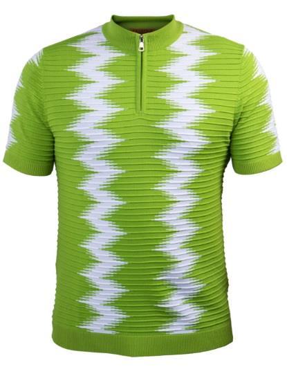 Prestige Knit Mockneck Zip Tee Shirt Neon Green CMK-017
