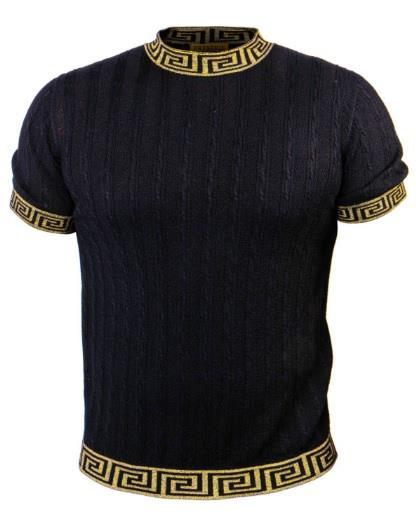 Prestige Knit Mockneck Tee Shirt Black Gold CMK-075