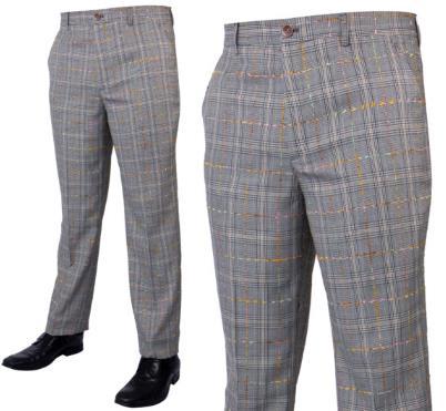 Prestige Flat Front Plaid Pants Gold PLD-205