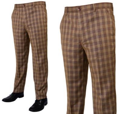Prestige Flat Front Plaid Pants Mocha PLD-205