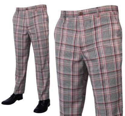 Prestige Flat Front Plaid Pants Pink PLD-205