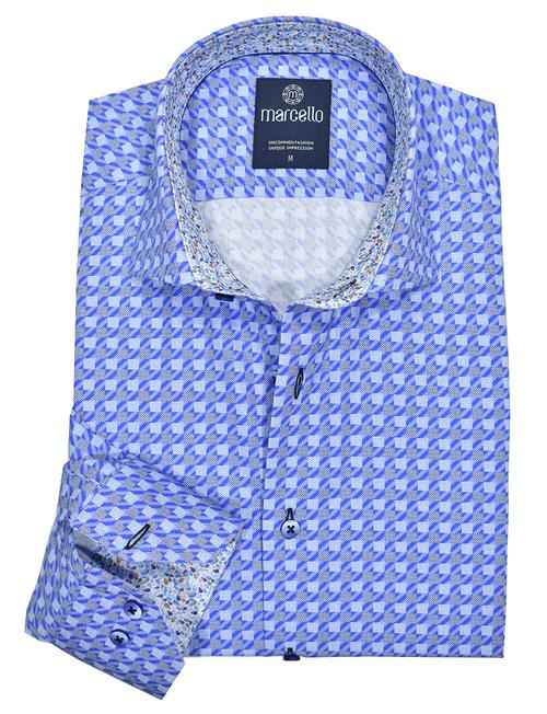 Marcello Classic Quirantes Royal Grid Pattern Sport Shirt W1043