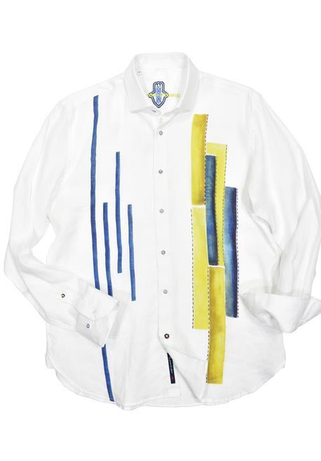 Marcello Classic Luchiano Linen Painted Geometric Shirt ZL4294