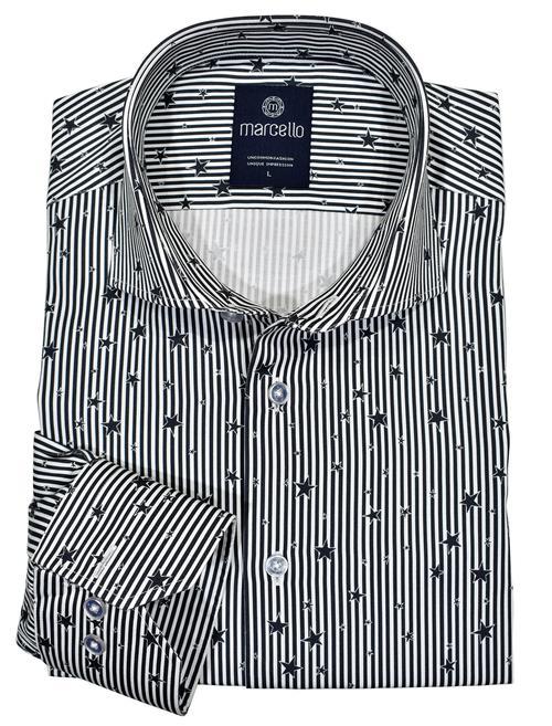Marcello Rock Star Cotton Sport Shirt Black W198