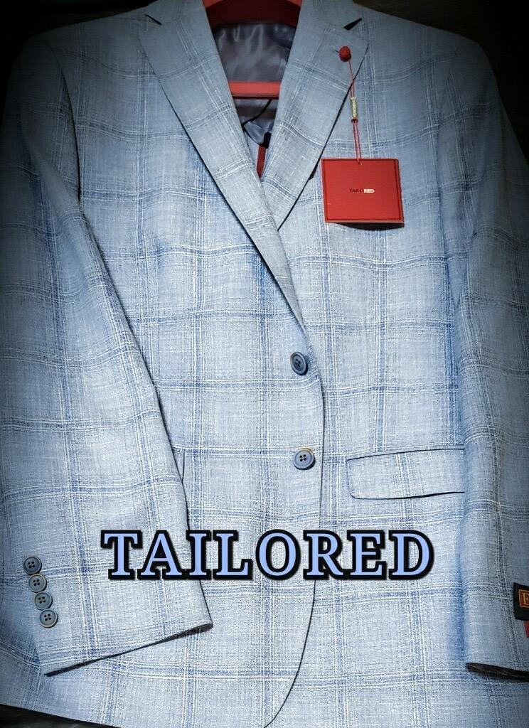 Peerless Tailor Red Sport Coat Baby Blue Windowpane