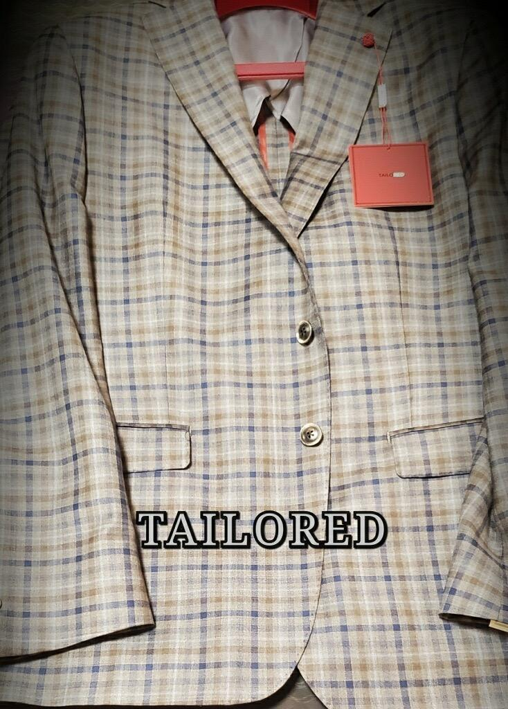 Peerless Tailor Red Checker Sport Coat Taupe Navy