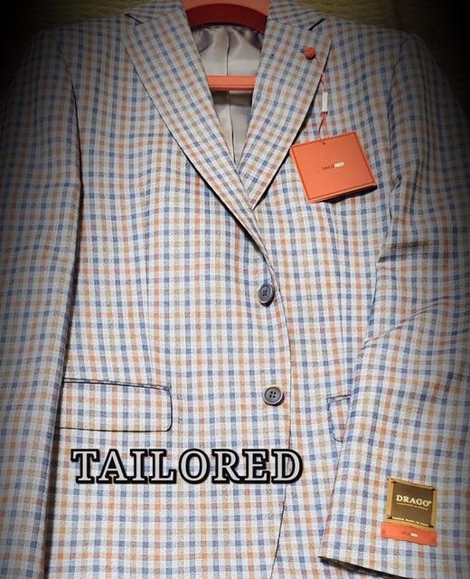 Peerless Tailor Red Checker Sport Coat Orange Blue