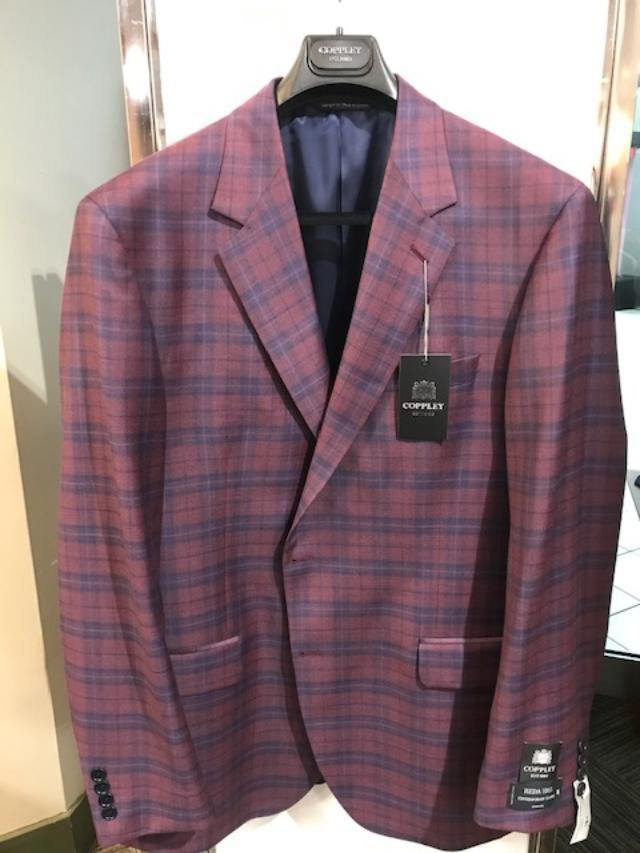Coppley Classic Fit Burgundy Plaid Sport Coat