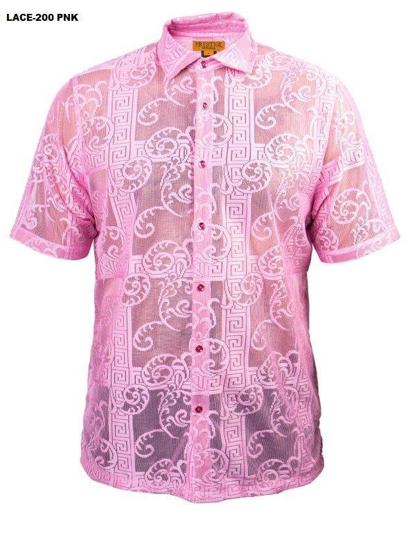 Prestige Greek Keys Short Sleeve Shirt Pink Lace-200