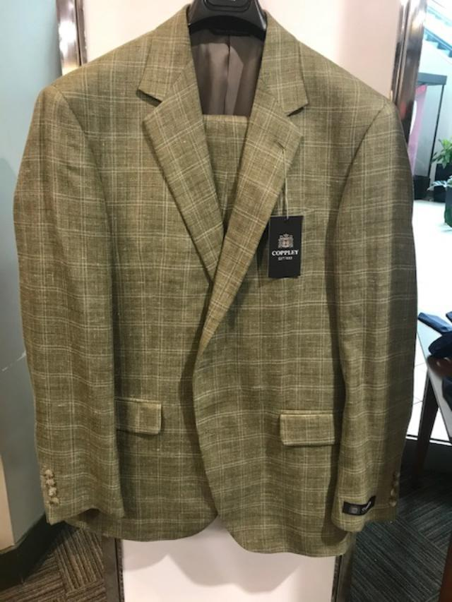 Coppley Gibson Windowpane Silk Suit Olive Green