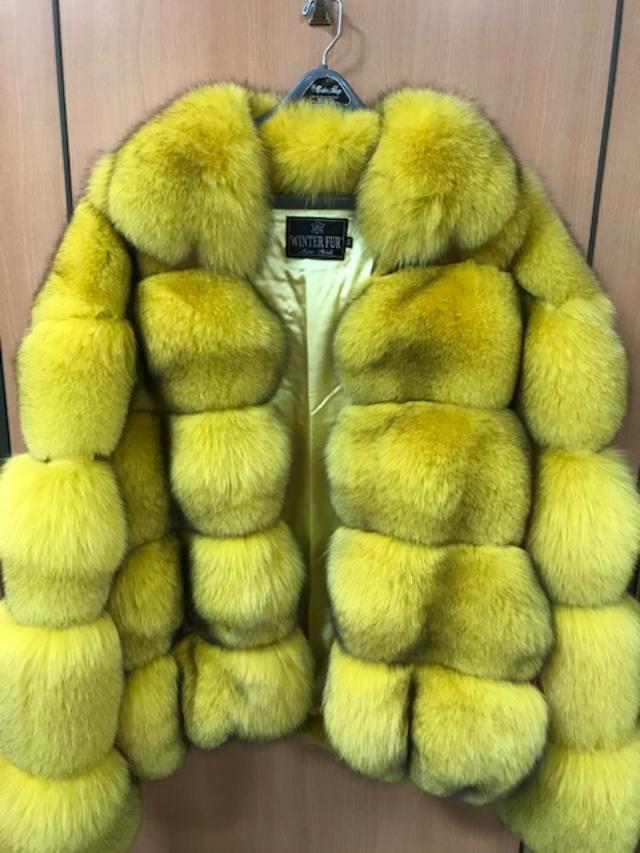 Winter Furs Women's Bomber Fox Fur Jacket Yellow