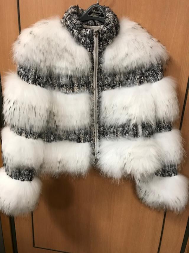 Winter Furs Women's Bomber Fox Fur Jacket White