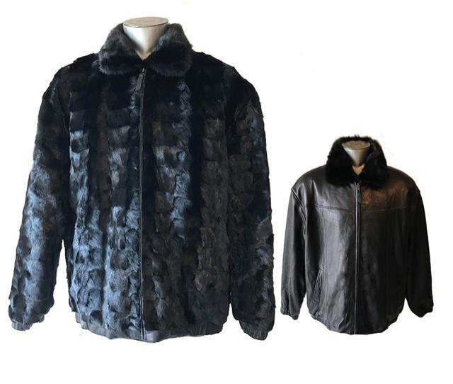 Winter Fur Reversible Mink to Leather Fur Jacket Blk, Brown, Coffee