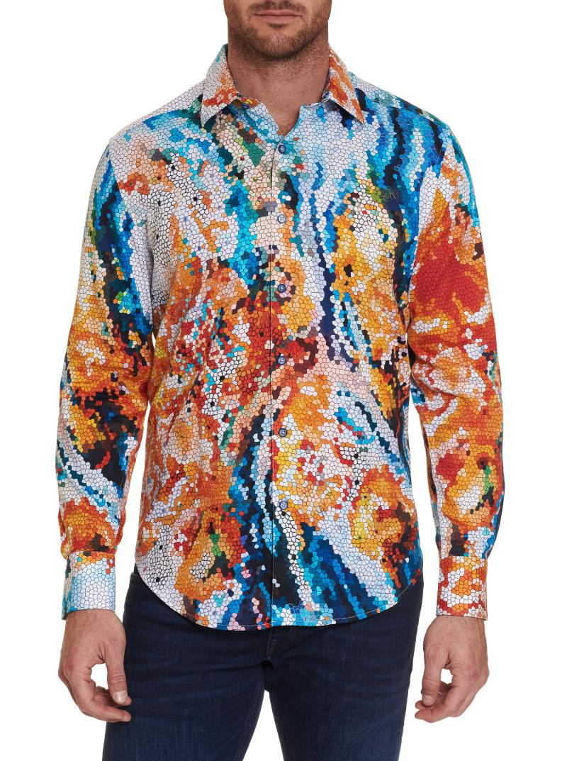 NEW Robert Graham Mosiac Long Sleeve Sport Shirt