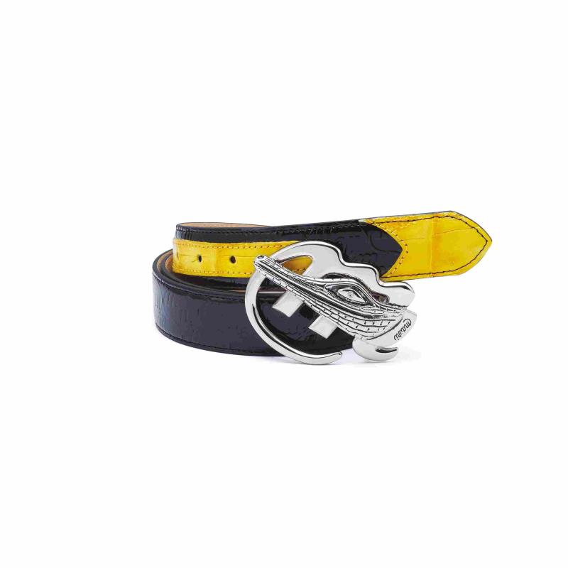 2020 Fall Mauri Gator Buckle Patent Embossed Yellow/Blk Belt