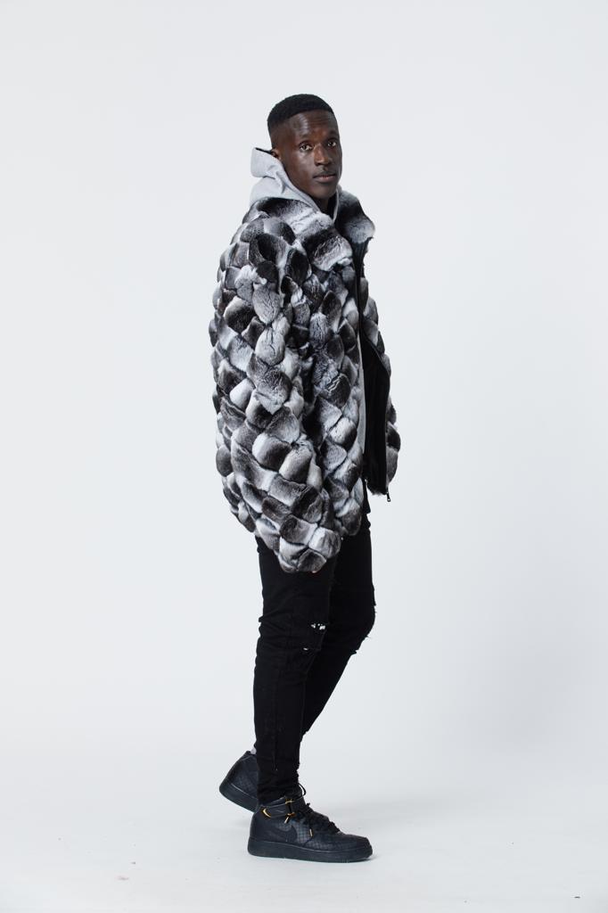 Winter Fur Luxurious Full Skin Square Chinchilla Fur Jacket Black/White