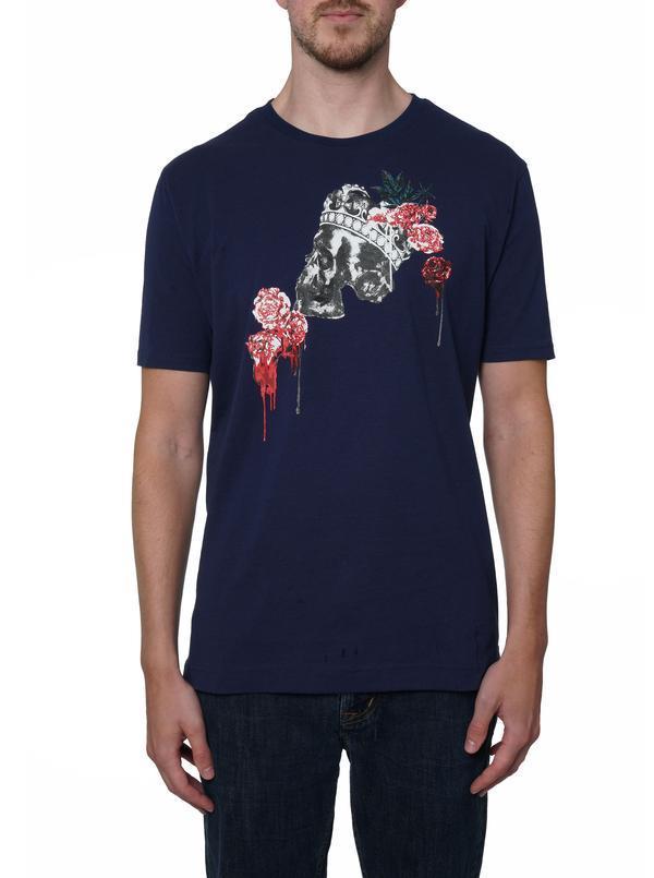 NEW Robert Graham Crownrose Skull T-Shirt Navy