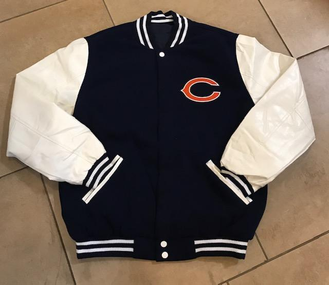 JH Design Chicago Bears Reversible Faux Leather Sleeves Jacket (S-2X)