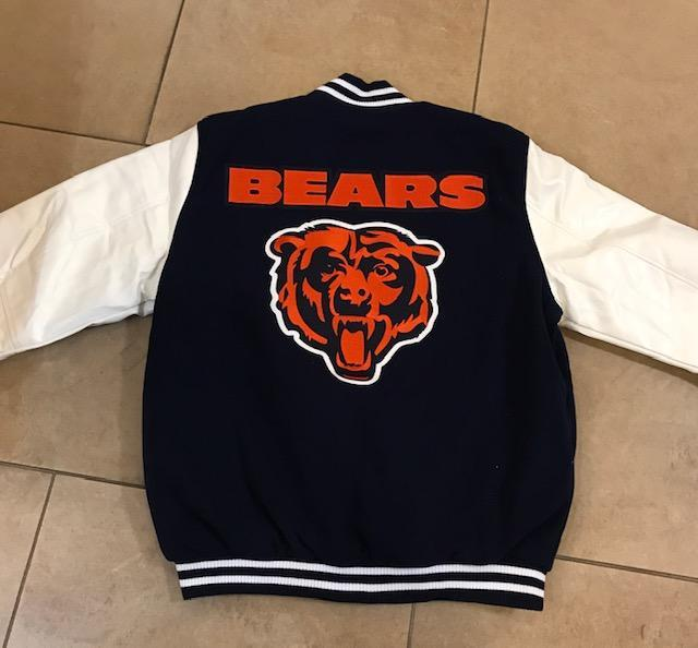 JH Design Chicago Bears Reversible Faux Leather Sleeves Jacket (3x-4x)