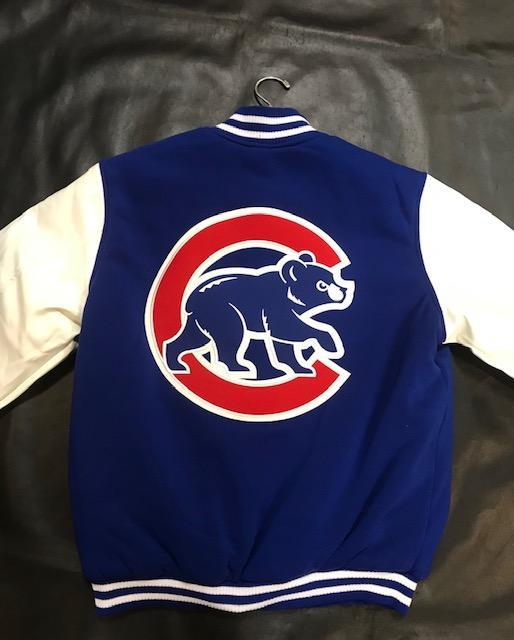 JH Design Chicago Cubs Reversible Faux Leather Sleeves Jacket (3x-4x)