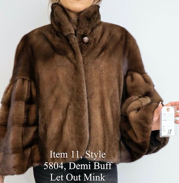 Gliagias Furs Women's Demi Buff Natural Fully Let Out Mink Cape 5804