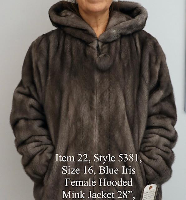 Gliagias Furs Women's Full Skin Mink Bomber Jacket W/ Hood Blue Iris 5381