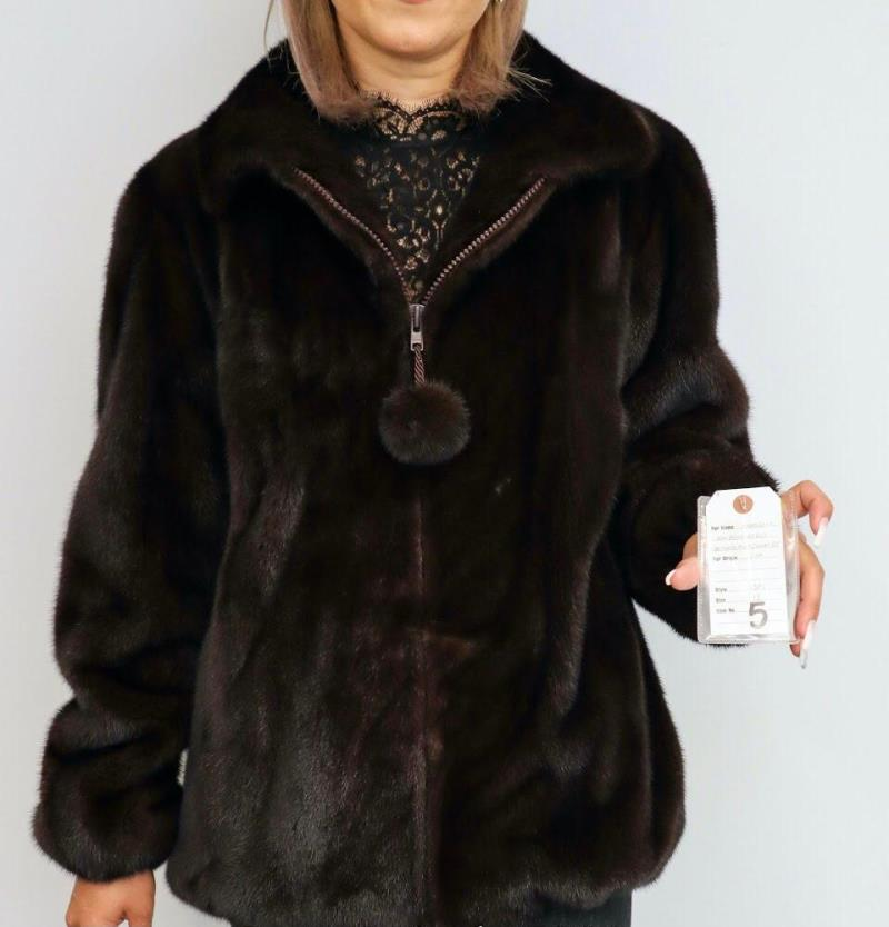 Gliagias Furs Women's Full Skin Mink Bomber Jacket W/ Hood Ranch 5381