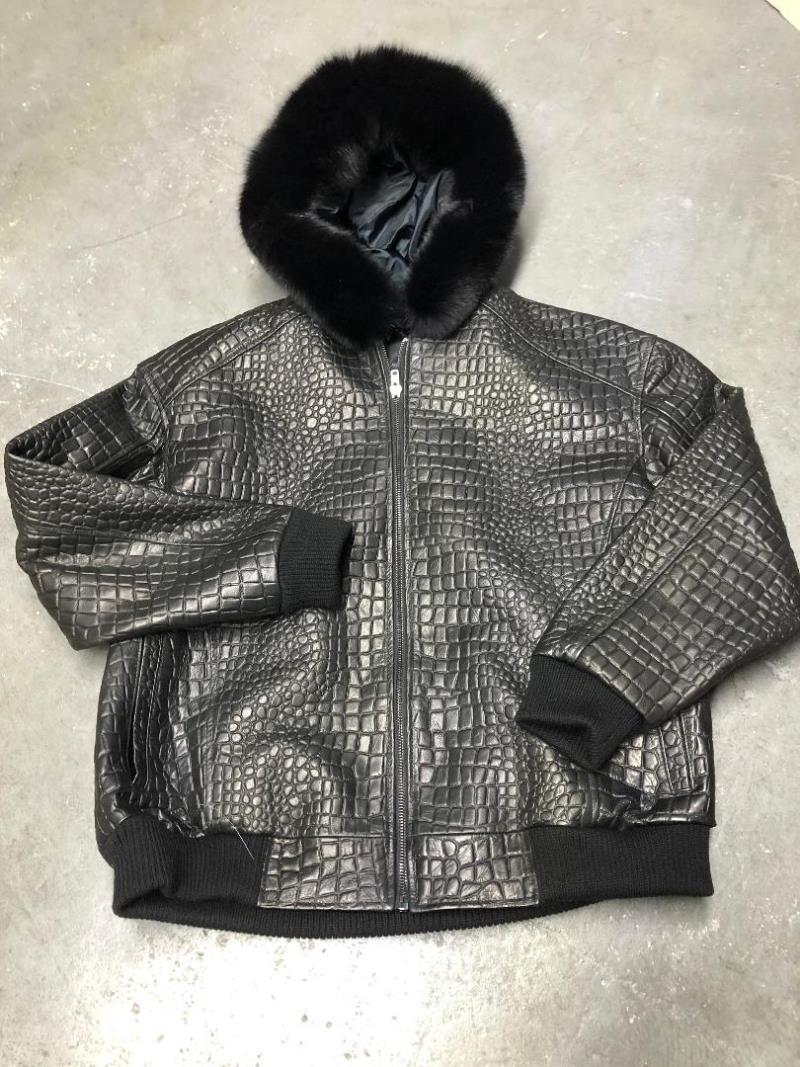 G Gator Jake Wood Big Embossed Gator Print Leather Jacket 2266E (3x-4x)