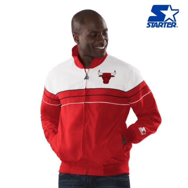 Men's Chicago Bulls Starter Light Weight Jacket Red
