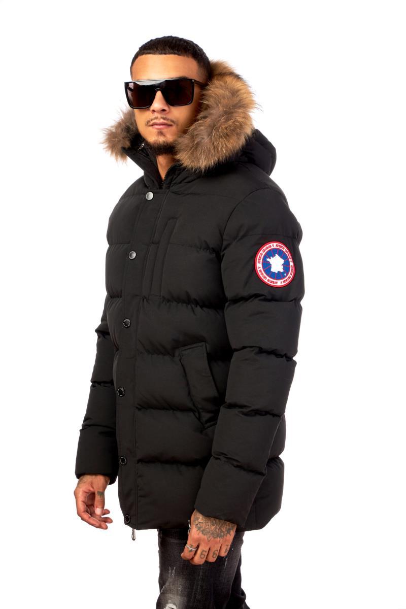 Avenue George V Long Quilted Hooded Parka Jacket Black