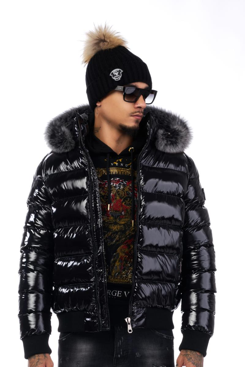 Avenue George V Nylon Quilted Bubble Jacket Black