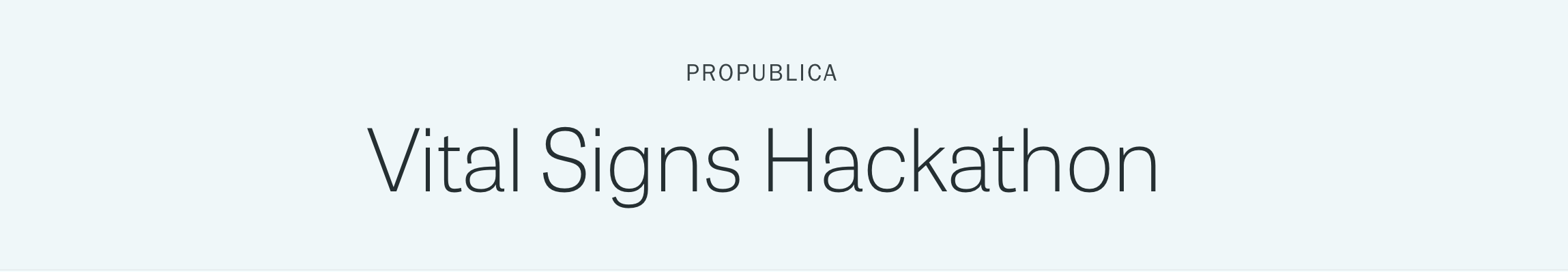 Vital Signs Hackathon