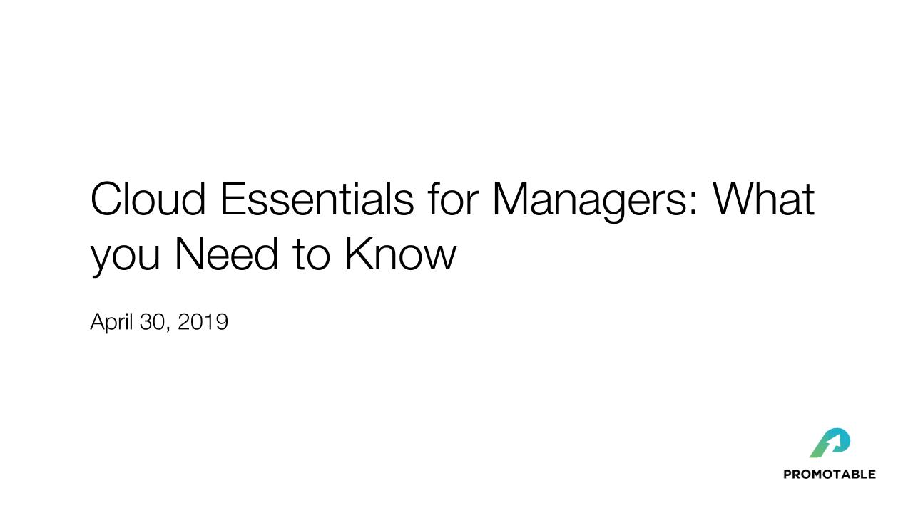 Cloud Essentials for Managers: What you Need to Know