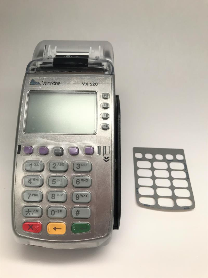 Verifone Vx520 EMV/Contactless Credit Card Terminal with Overlay and Spill Cover