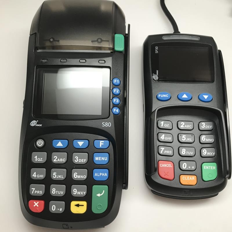 Pax S80 EMV CTLS Credit Card Terminal and New PAX SP30 PIN Pad