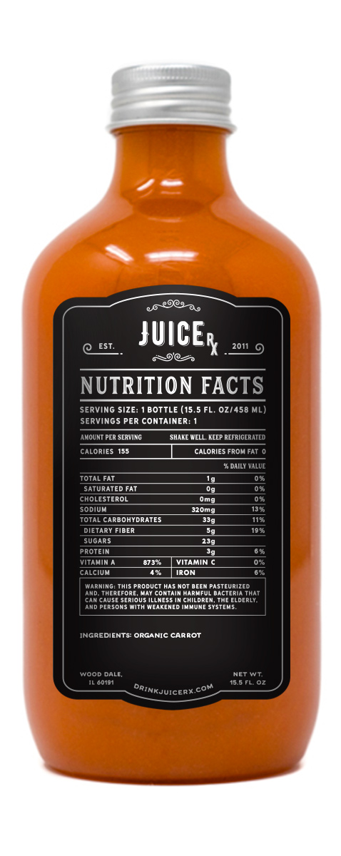 carrot juice bottle nutrition facts