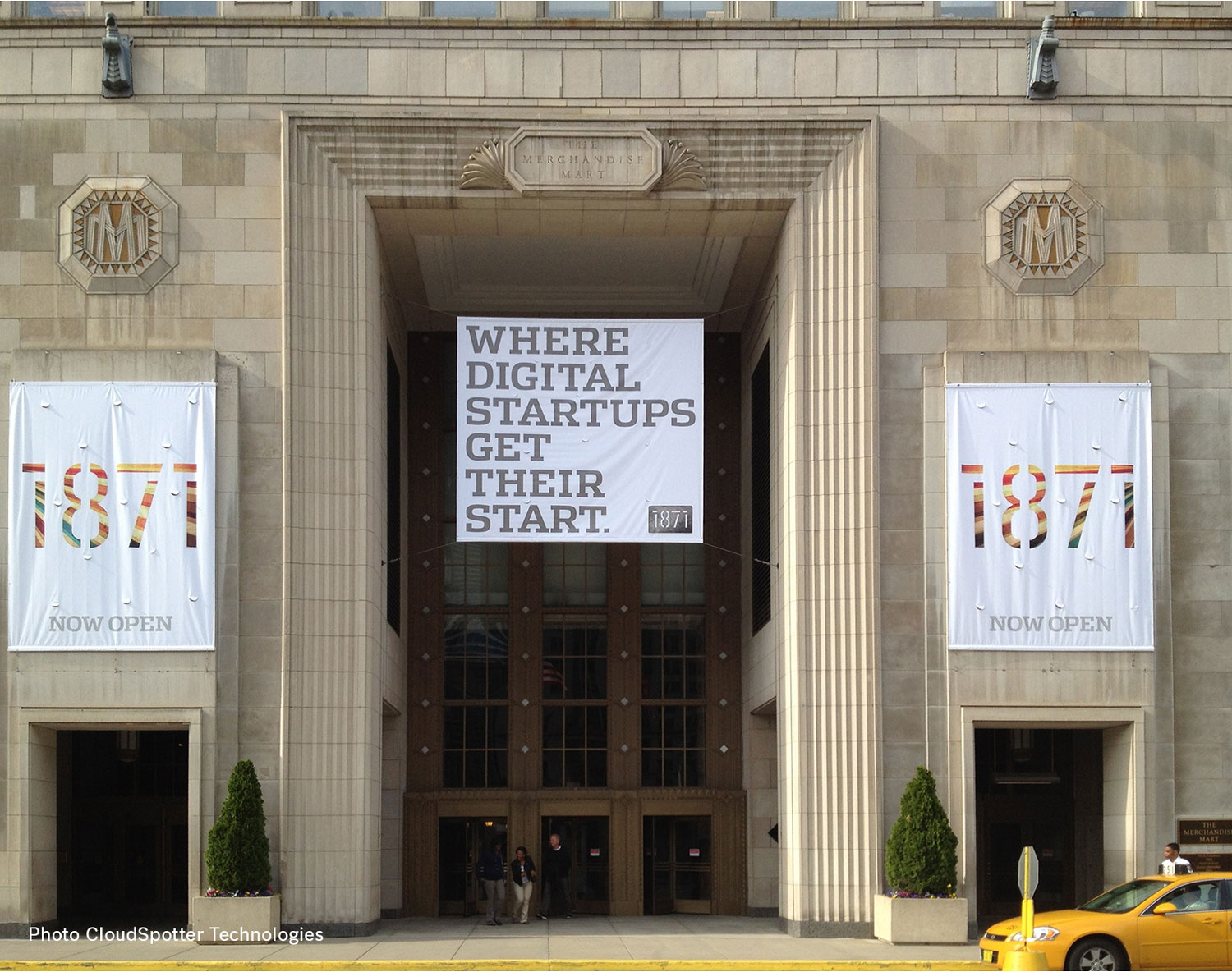 1871 banners at the entrance of the Merchandise Mart | Chicago Connectory