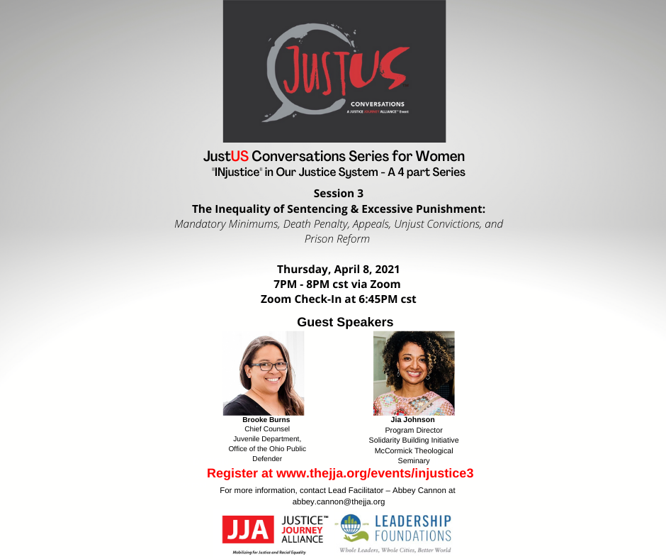 JustUS Conversations Series for Women - INjustice in Our Justice System - A 4 Part Series