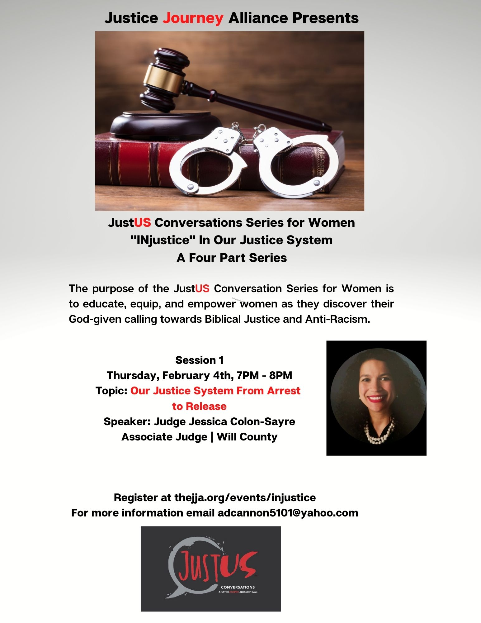 "JustUS Conversations Series for Women | ""Injustice"" In Our Justice System"