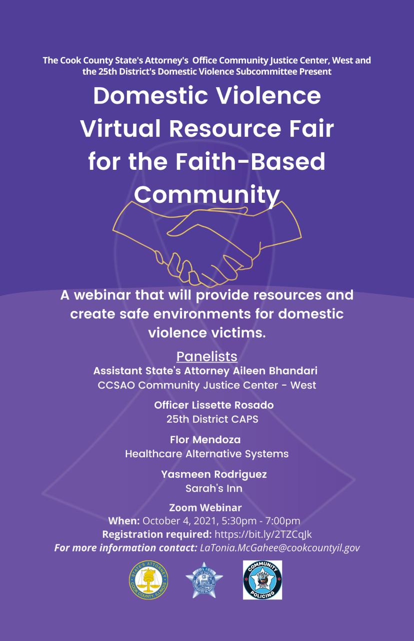 Domestic Violence Virtual Resource Fair - 25th CAPS Domestic Violence Subcommittee
